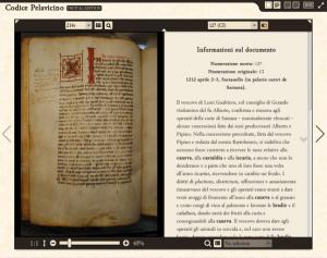 Il Codice Pelavicino digitale, come opzione predefinita viene mostrato il regesto di ogni documento